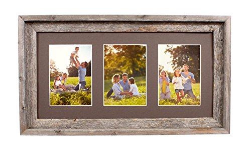 ening Mat with 100% Up-cycled Reclaimed Wood Frame (3-5x7, Weathered Wood) ()