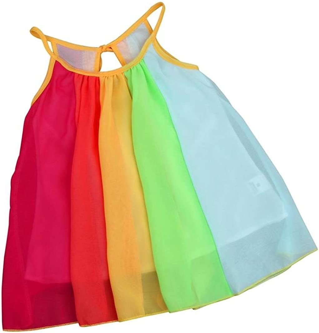 2-7 Years Pollyhb Baby Girl Dress Baby Girl Rainbow Multicolor Princess Clothes Sleeveless Chiffon Tutu Dresses