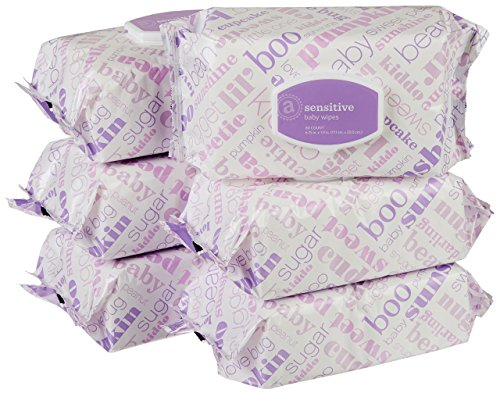 Amazon Elements Baby Wipes, Sensitive, 480 Count, Flip-Top Packs from Amazon Elements
