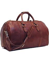 Floto Roma Cabin Bag Saddle Brown Italian Leather Weekender Duffle