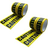 Hybsk 48MM(width) x 25M(length) Caution Warning Tape Yellow With Black Ink (4 Rolls)