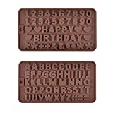 Prokitchen A to Z Letters Fondant Molds,Silicone Number Mold Cake Baking Supplies for Happy Birthday Cake Decoration and Chocolate,Set of 2