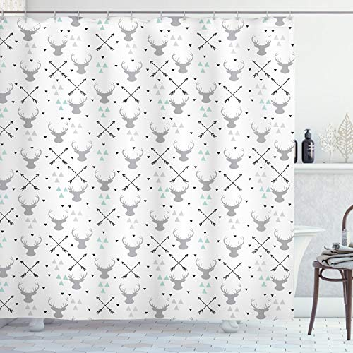 """Lunarable Antlers Shower Curtain, Hunting Theme with Scandinavian Design Elements Arrows Triangles Deer, Cloth Fabric Bathroom Decor Set with Hooks, 70"""" Long, Mint Green"""