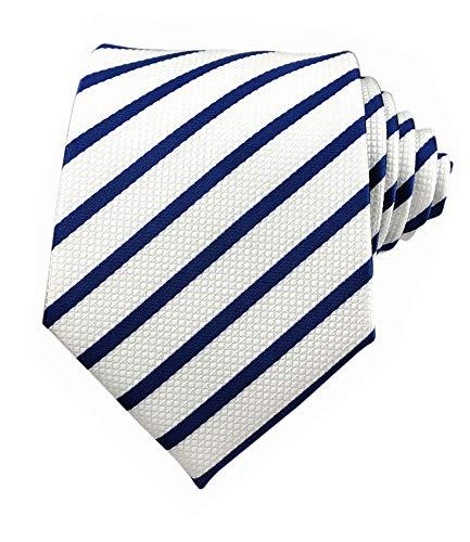 Designer Men Ties White and Blue Silk Tie Fine Wave Stripe Woven Working Business Necktie