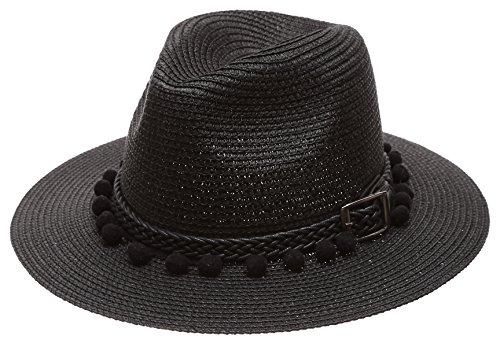 MIRMARU Women's Summer Panama Style Mid Brim Beach Sun Straw Hat With Pom Pom Belt Band.(Black) by MIRMARU