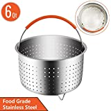 Steamer Basket 6 Quart or 8 Quart for Instant Pot Accessories,Fits Insta Pot,Stainless Steel Steamer Insert With Pressure Cookers Silicone Covered Handle, Inlcude Cloth Liners for Streaming Basket