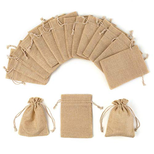 YUXIER Burlap Bags Drawstring Party Favor Bags Small-12/25/30/75 Party Gift Bags-5.3x3.7in Treat Bags for Baby Shower Wedding Kids Party Presents Jewelry Pouches]()