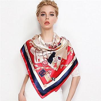 4470538649eb Foulards femme Hijab Rose Grand Rouge satin soie rouge ,Carré ...