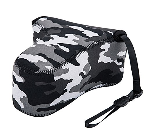 Fotasy OC-S3GR Camouflage Mirrorless Camera Pouch Case for Sony A6500/A6300/A6000/A5100/A5000 with 55-210mm Lens, Fujifilm X-M1/X-T10/X-T20 with 55-200mm Lens ()