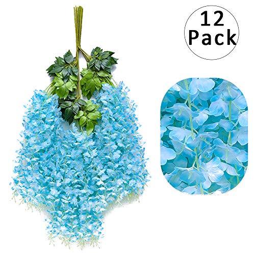 12pcs Artificial Wisteria Flowers 3.6 Feet/Piece Blue Dense Artificial Fake Wisteria Vine Ratta Hanging Garland Silk Flowers String Home Party Wedding Decor(Blue-Dense)