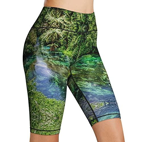 Inaayayi Hoge Taille Yoga Shorts Jungle River Emerald Water Bos Groene Bomen Vrouwen Biker Shorts Tummy Control Fitness…