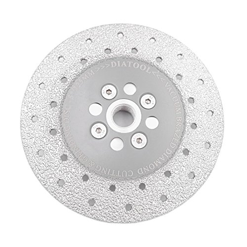 SHDIATOOL 5 Inch Diamond Cutting Grinding Disc Fits 5/8-11 Arbor for Marble Ceramic Double Sided Vacuum Brazed Fast Cutting Shaping Grinding Wheel Concrete Grinding Diamond Disc