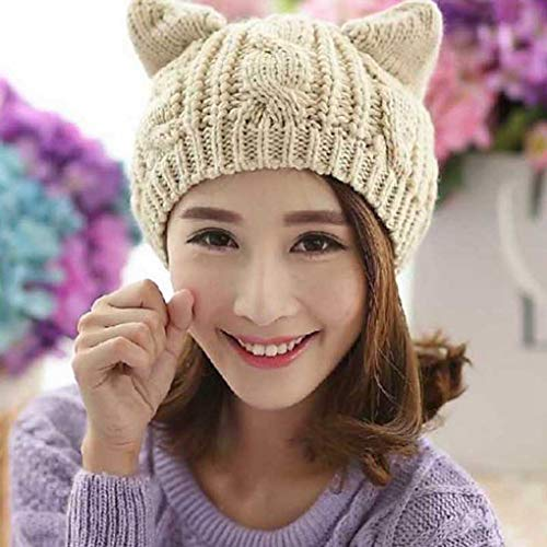 Women Devil Horns Cat Ears Beanie Hat Crochet Knit Cap Winter Autumn Ladie Fashion Knitted Woolen Hats Beanies Warm Caps