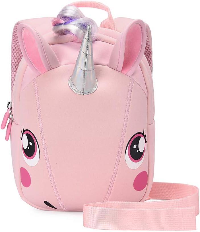 Unicorn Backpack with leash for Girls Kids Backpack Plush Unicorn Toy Bookbag (Pink)