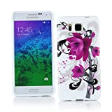 Kit Me Out CAN TPU Gel Case for Samsung Galaxy Alpha G850F - Black / White / Purple Bloom