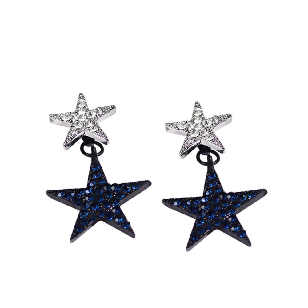 Wicemoon 1 par Pendientes de Estrellas Con Diamantes de Imitaci/ón Para Mujer Joyas Azul