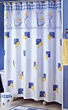 White and Blue Polyester Fabric Rubber Ducky Shower Curtain, 70 x 71 Inch