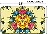 Luxlady Large Table Mat Non-Slip Natural Rubber Desk Pads IMAGE ID: 37766007 Floral abstract or hippie seamless pattern background Mirror design