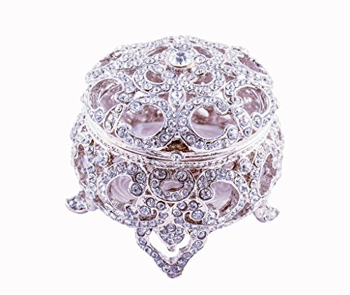 - Jewelry Trinket Box Round Shape with Filigree Work, Clear Swarovski Crystal Over Pewter, Inside of Box with Lovely Enamel, Silver Plating, L 2.00 x H 2.00 x W 2.00