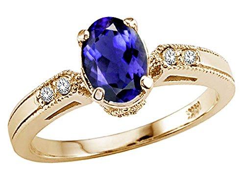 Tommaso Design Oval 7x5 mm Genuine Iolite Ring 14 kt Yellow Gold Size 8.5 14k Yellow Gold Iolite Ring