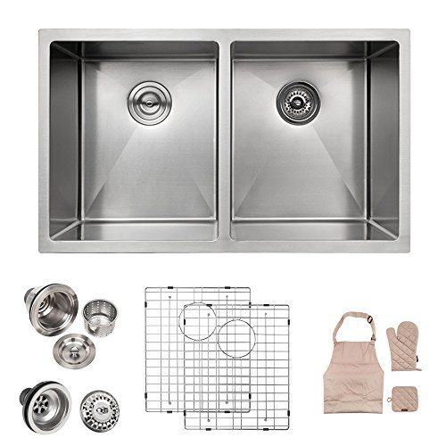 LORDEAR Modern 32 Inch 16 Gauge 10 Inch Deep Handmade Stainless Steel Farmhouse Apron Front Drop In Undermount 50/50 Double Bowl Kitchen Sink, Sink Including Dish Grid and Basket Strainer