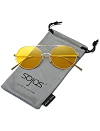 SojoS Small Size Round Sunglasses Memory Metal Frame for Men and Women SJ1068