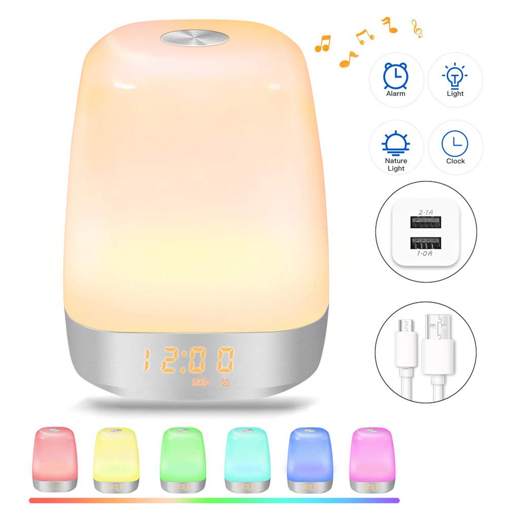 JOYY Wake Up Light Simulation Sunrise 2018 Upgrade LED Digital Clock Alarm Clock Touch Control Dimmable Bedside Lamp with 5 Natural Sounds Multicolor Modes Rechargeable + US Charger + USB Cable