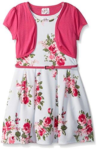 Beautees Little Girls' 2 Pc. Floral Stripe Border Skater Dress With Shrug, Fuchsia, 6X Pink Stripe Border