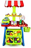 Velocity Toys Super Market Food Stall Children's Kid's Pretend Play Toy Food Play Set w/ Toy Cash Register, Pretend Food and Money