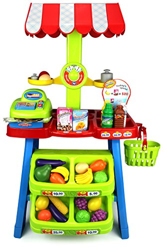 Velocity Toys Super Market Food Stall Children's Kid's Pretend Play Toy Food Play Set w/ Toy Cash Register, Pretend Food and Money by Velocity Toys
