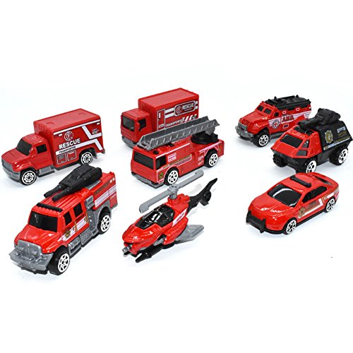 (VANTIYAUS Pumper Fire Truck Toys(5 PCS) Fire Engine Truck Car Toy Set, Push Car Toys for Boys Birthday Gift,Vehicle Gift Set(Random Styles))