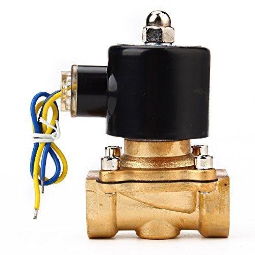 Water Air Gas Fuel Electric Solenoid Valve (Black) - 1