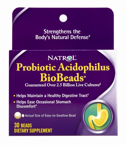 Natrol Probiotic Acidophilus BioBeads, 30 Beads (Pack of 2)