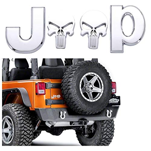 (Xotic Tech 3D Letter Emblem for Jeep Punisher Skull Logo Sticker Car Side Fender Body Rear Trunk Metal Badge Decal for Wrangler Compass Grand Compass Cherokee Renegade Patriot Silver Chrome)