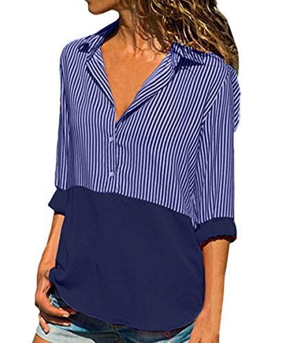 Automne Femmes Chemises Casual et Revers Tops Manches Printemps Raye Shirts Violet Chemisiers T Longues Blouse Shirts Gavemenget Tee pissure Hauts tqxREw