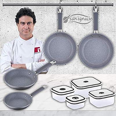San Ignacio Premium Set 4 sartenes sip + 4 fiambreras, Aluminio ...