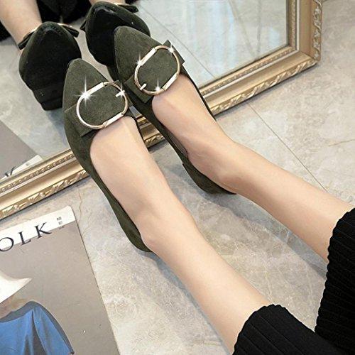 Scarpe Da Ufficio Signore Sikye, Donne Slip On Fibbia Della Cintura In Pelle Scamosciata Tacco Piatto Scarpe A Punta Scarpe Casual Verde