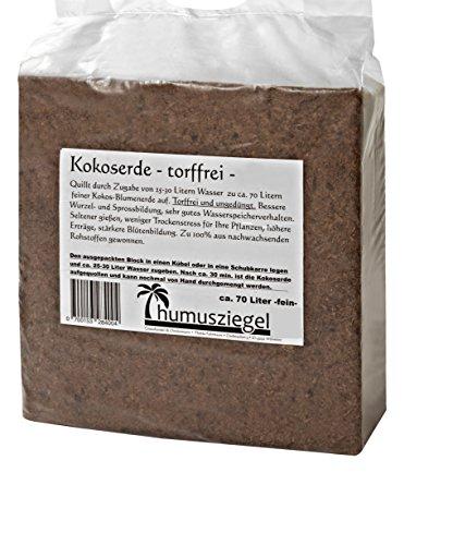 70 L Kokosblumenerde Quellerde - torffreie Blumenerde - für den Innen- und Außenbereich - sehr ergiebige Pflanzerde - torffrei und ungedüngt - 5 kg Kokos Brikett - Pflanzerde für Obst, Gemüse, Zierpflanzen und Exoten - fein -