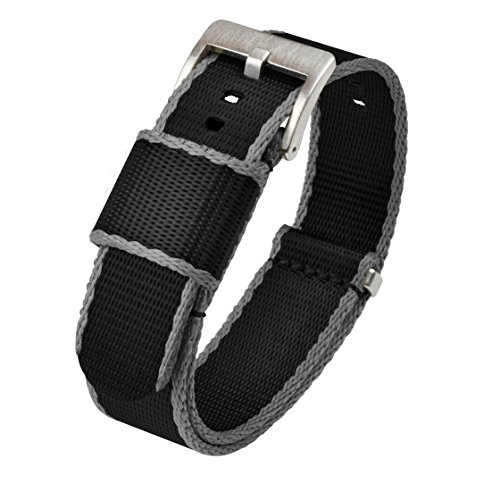 Barton Jetson NATO Style Watch Strap - 18mm 20mm 22mm or 24mm - Black/Grey Edges 22mm Nylon Watch Band ()