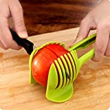 Tomato Lemon Slicer Fruit Cutter with Long Handle,Round Fruit Tongs Holder for Kiwi,Onion,Potato Kitchen Slicing Cutting Helper Vegetable Tool (Green)