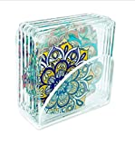 Idea Design - Acrylic 3.5'' Mandala Patterns – Assorted Coasters With Clear Acrylic Stand (Set of 6)