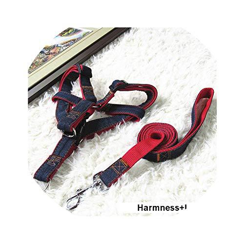 PG-One 120Cm Long Fashion Denim & Nylon Rope Dog Leash Black/Red/Blue Jean Puppy Dog Collar,Red Harness Leash,No 2