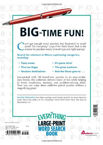 The Everything Large Print Word Search Book 150 Easy To Read Puzzles Edmondson Jennifer 9781440503191 Amazon Com Books