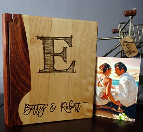 - Personalized Wood Cover Photo Album, Custom Engraved Wedding Album, Style 106 (Maple & Rosewood Cover)