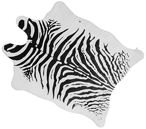 Faux Zebra Rug Large (4.6' x 6.6') - Zebra Print Western Boho Decor - Synthetic, Cruelty-Free Animal Hide Carpet with No-Slip Backing