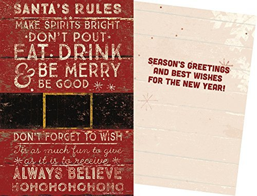 Primitives By Kathy Dan DiPaolo 4.75 inches x 7 inches Greeting Card - Santa's Rules]()