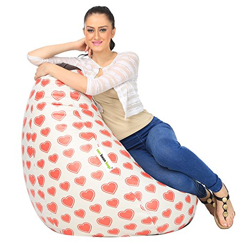 can bean bags Heart Theme XXL Digital Printed Bean Bag Cover Without Beans   Red and White