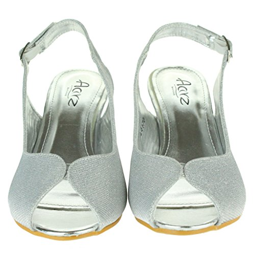Mujer Señoras Brillar Peep Toe Brillar Peep Toe Slingback Tacón de cuña Noche Fiesta Boda Paseo Sandalias Zapatos Talla Plata