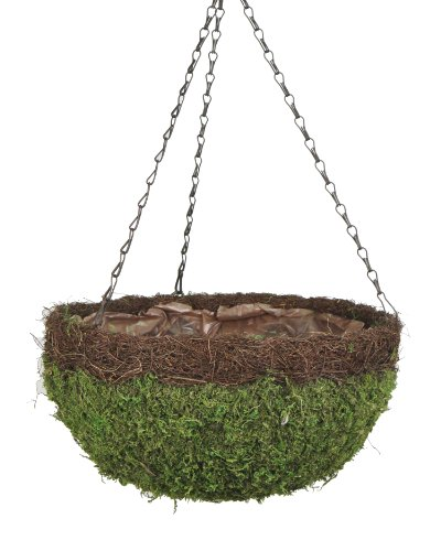 Spanish Hanging Basket - Super Moss (29205) MossWeave Hanging Basket - Round, Fresh Green with Wicker Rim, Large (16.5 Diameter)