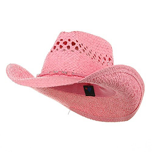 MG Womens Straw Outback Toyo Cowboy Hat, Pink